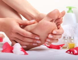 Foot care and foot massage in salon